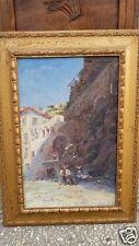 Dipinto olio su tavola - paesaggio costiero - Georges Deloy - fine '800