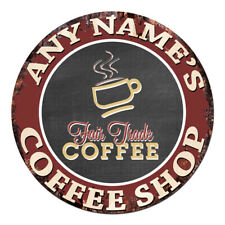 CP-0086 ANY NAME'S COFFEE SHOP Custom Personalized Chic Tin Sign Decor Gift idea