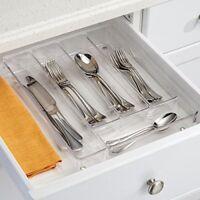 InterDesign Linus Kitchen Drawer Organizer for Silverware,Spatulas,Gadgets-Clear