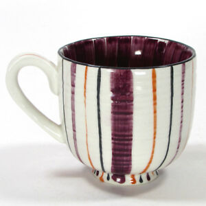 Anthropologie POPPY 10oz Mug Cup Striped Floral Purple Red Orange Grey