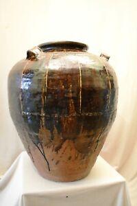 "Antique Large Martaban Jar Burma Burmese Circa 16Th Century A Storage jar Rare """