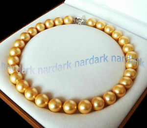 22'' Rare 12mm Genuine Yellow Gold South Sea Shell Pearl Round Beads Necklace