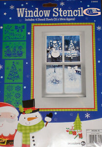 Snowflakes Christmas Window Stencils Assorted Designs Festive Xmas Re-us Stencil