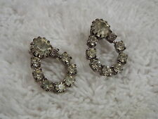 Silvertone Rhinestone Forward Hoop Pierced Earrings (D9)