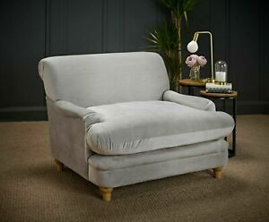 VELVET FABRIC LARGE LOUNGE SNUGGLE ARM CHAIR SOFA BEIGE GREY & BLUE OCCASIONAL