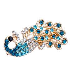 Women's Peacock Full Crystal Rhinestones Hairpin Hair Clips Barrette Accessories