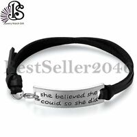 """She Believed She Could So She Did""Inspirational Leather Bracelet For Women Girl"
