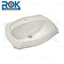 "Rok Crater Oval Drop-In Bathroom Vanity Sink 22"" X 18-1/8"" Ivory Porcelain"