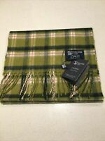 Johnstons of Elgin 100% Cashmere Scarf Made In Scotland Green White Check