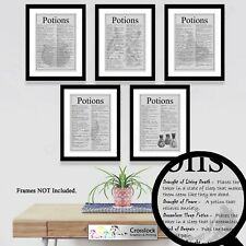 Harry Potter Prints Potion Print Wizard Potions Picture ONLY A4 gift Set of 5