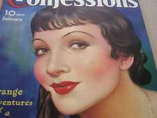 January 1935 True Confessions Magazine Claudette Colbert Cover-Story & Pictures
