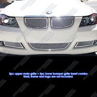 For 06-07 BMW 3-Series E90 Sedan Stainless Steel Mesh Grille Grill Insert Combo