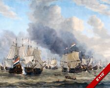ANGLO DUTCH WAR NAVAL BATTLE OF LEGHORN SHIPS SCENE PAINTING ART CANVAS PRINT