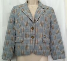Anthropologie Daughters of the Liberation Sz 4 Jacket Light Blue Plaid Button Up