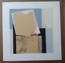 Ursula BRUENGGER 1990 ABSTRACT ORIGINAL LITHOGRAPH SIGNED BLUE BEIGE SWISS ART