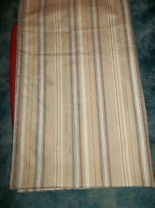 BROWN STRIPED FABRIC SHOWER CURTAIN NEW