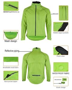 Men Flo Green Cycling/Running Rain Jacket DarkReflect Breathable Wind/Waterproof