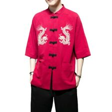 Men's Embroidered Shirt Stand collar Half Sleeve Chinese style Blouses Summer L