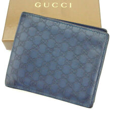 Gucci Wallet Purse Bifold Guccissima Blue Woman unisex Authentic Used T2107