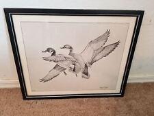 Signed Valan Stieler 9/100 Print Of Ducks Flying High Glass Framed 14X17 EUC