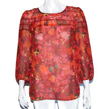 ANNE TAYLOR LOFT Gorgeous Red Floral Blouse Peasant Top Small - S