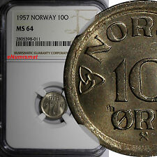 Norway Haakon Vii 1957 10 Ore Ngc Ms64 Last Date Type Top Graded By Ngc Km# 396