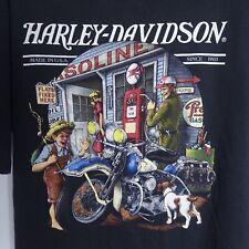 Vintage 80's Harley Davidson Gasoline 3D Emblem Motorcycle T-shirt Black Vtg
