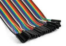 40pcs 20cm Dupont FEMALE-FEMALE Jumper GPIO Breadboard Wire Ribbon Pi Arduino