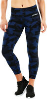 2XU Fitness Mid Rise Print Womens 7/8 Compression Tights - Blue