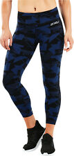 2XU Fitness Mid Rise Womens Compression Tights Blue Gym Training Workout Tight