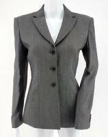 Armani Collezioni Notch-Lapel Blazer Wool Blend Gray Women's Size 2