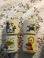Vintage 1985 Sterling House Childrens Plastic Christmas Cups Lot Snowman Santa