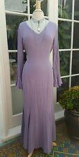 Vtg 70s Womens Dress Lavender Long Boho Crinkle Cotton Bell Sleeves Long M/L