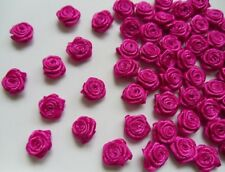 "3/8""(W) Shocking Pink Satin Polyester Mini Ribbon Roses Flower-100 Pcs-R0030S"