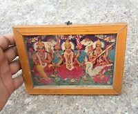 Vintage God Ganesha, Lakshmi & Saraswati Litho Print- Well Framed Picture