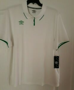 NWT Umbro Men's White & Green Short Sleeve Polo SIZE 2XL MSRP $50
