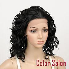 Hand Weben Kunsthaar Spitzenfrontseite Lace Front Wig Glueless Perücke 95#1B
