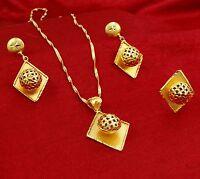 18K Goldplated Indian 3PC Pendant Necklace Set Designer Ethnic Bollywood Jewelry