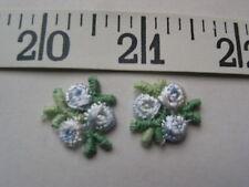 "7082 APPLIQUES  Tri Flower Rose Bud Light Blue White  6/8"" 36 Pcs"