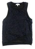 Cute Womens Size M Monteau Navy Blue Lace Tank Top Black Trim Asymmetrical Hem