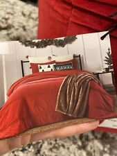 New listing Bee & Willow Home 3-Piece Pom Pom Velvet Quilt Set - Red - Size: King