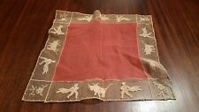 "Vintage Handkerchief Spain Mexico Bullfighting Matador Lace About 9"" Square"