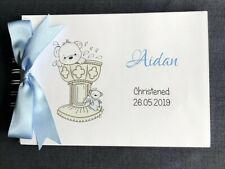 A5 Baby Boy Baptism Christening Guest Book Memories Photo Album Personalised