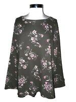 NEW BOBEAU Size XL Shirt Top Green Pink White Floral Shiny Long Sleeve