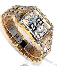 BULOVA $695 MENS BIG DAZZLING CRYSTALS GOLD WATCH, DAY/DATE/24H SUB DIALS 98C109