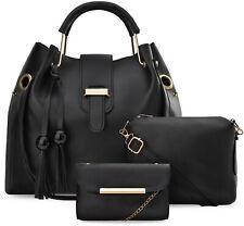 Damen Taschen Set 3 in 1 Beuteltasche Schultertasche Clutch schwarz