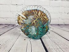 Vintage Murano Angelfish Fish Glass Teal Gold Turquoise Shimmer Paperweight