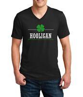 Mens V-neck Hooligan T Shirt Lucky Green Clover St Patricks Day Irish Shamrock