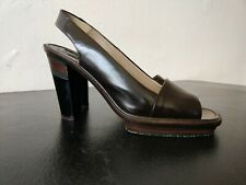 Marni Brown Patent Leather Block Strapped Heels  Size 38.5  Made In Italy