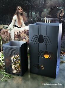 CRATE & BARREL IRON SPIDERS & WEB LUMINARY BAGS (2) -NEW- SACK YOUR BLAH DÉCOR!